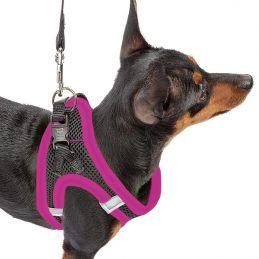 Harnais réfléchissant rose pour chien