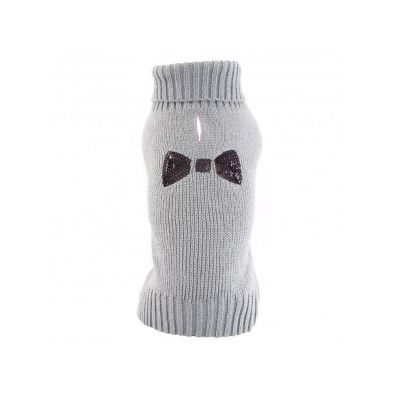 Pull tricot gris motif noeud en strass
