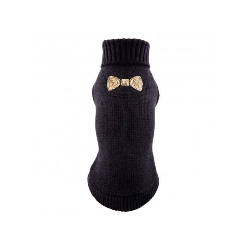 Pull tricot noir motif noeud en strass