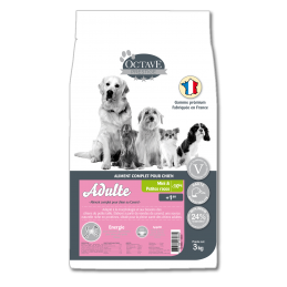 Croquettes Octave Prestige Mini Adulte 3 kg ANIMAL FOOD DIFFUSION 3760185060684 Croquettes Octave
