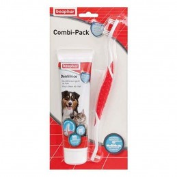 Combi-Pack : Brosse à dents & dentifrice Beaphar BEAPHAR 8711231155040 Hygiène bucco-dentaire