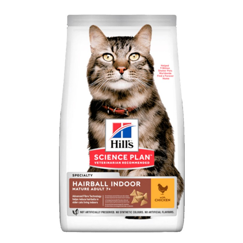 Croquettes Hill's Mature Hairball Indoor Poulet 2.5 kg HILL'S 052742027173 Croquettes Hill's