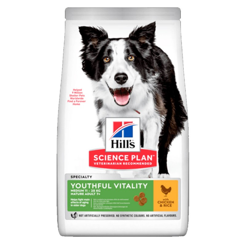 Croquettes Hill's Medium Mature 7+ Youthful Vitality Poulet 12 kg HILL'S 052742025506 Croquettes Hill's