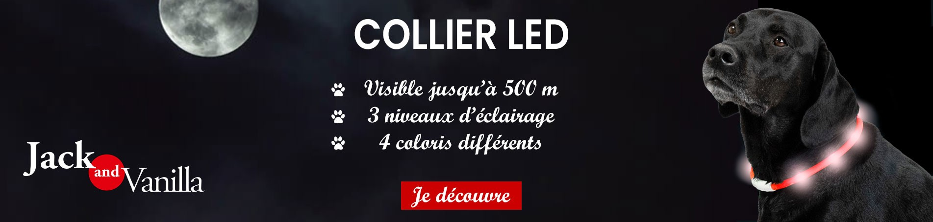 Collier pour chien LED Jack and Vanilla : Animaux-Market