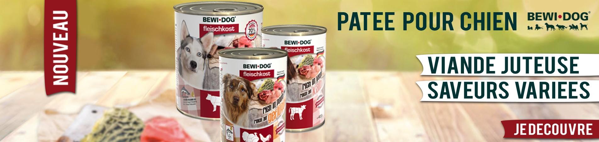 Pâtée pour chien Bewidog : Une alimentation juteuse, variée et saine.